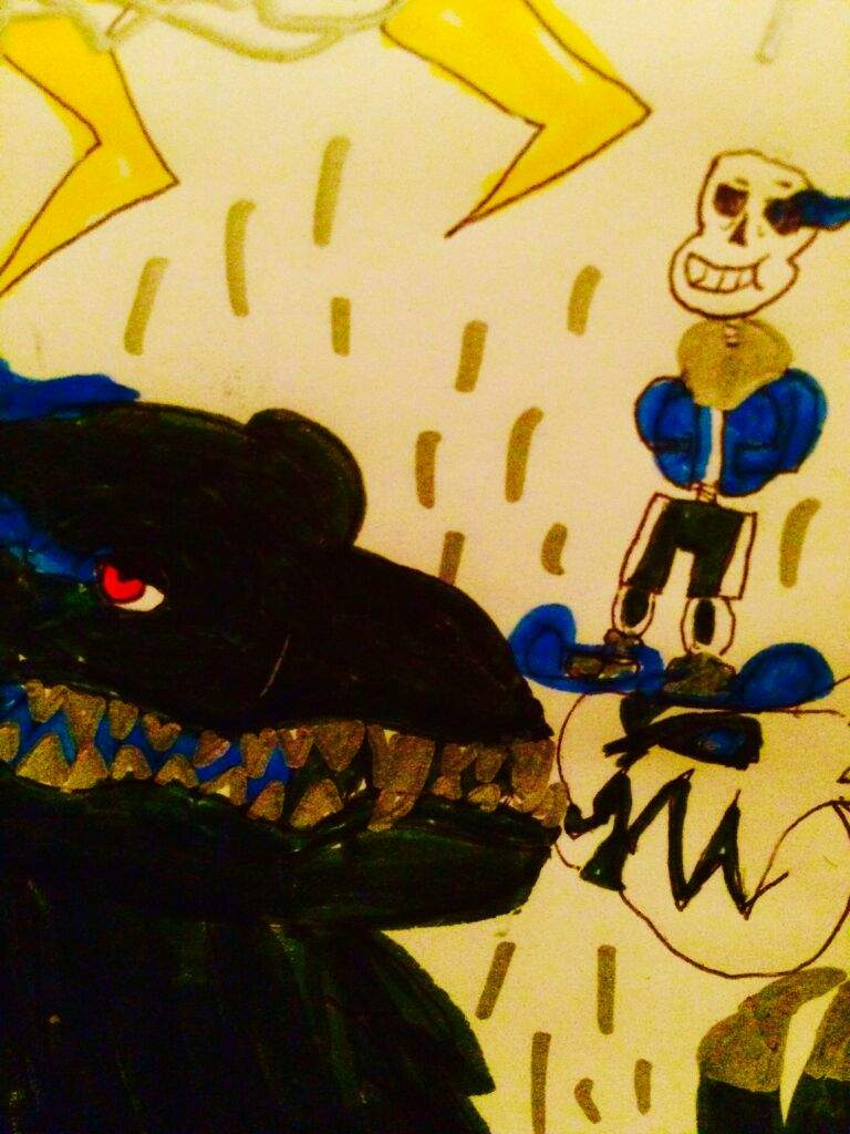 Sans meet godzilla drawing   Undertale Amino