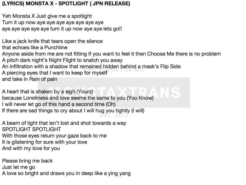 MONSTA X SPOTLIGHT LYRICS TRANSLATION | MONBEBE Amino