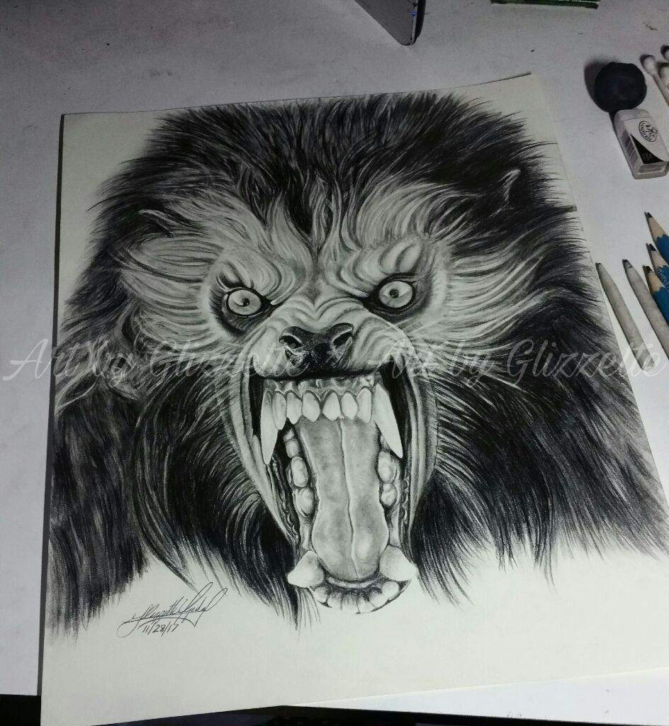 Pencil drawing werewolf anamericanwerewolfinlondon classic horror monster art