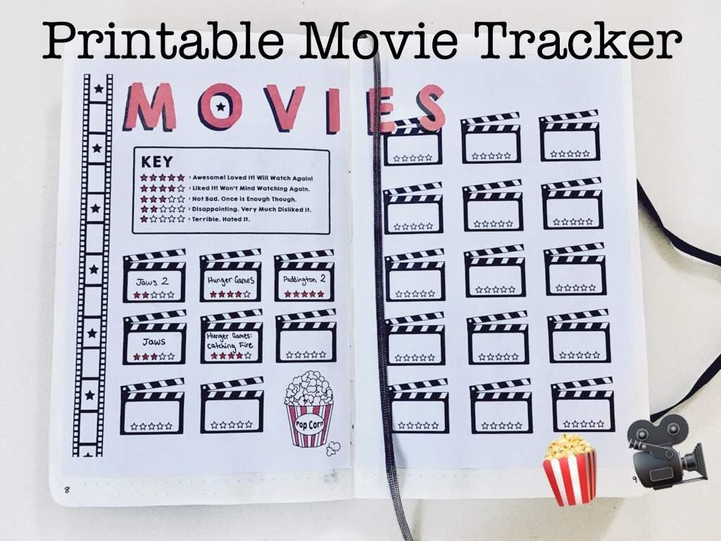 Printable Movie Tracker Bullet Journal Amino