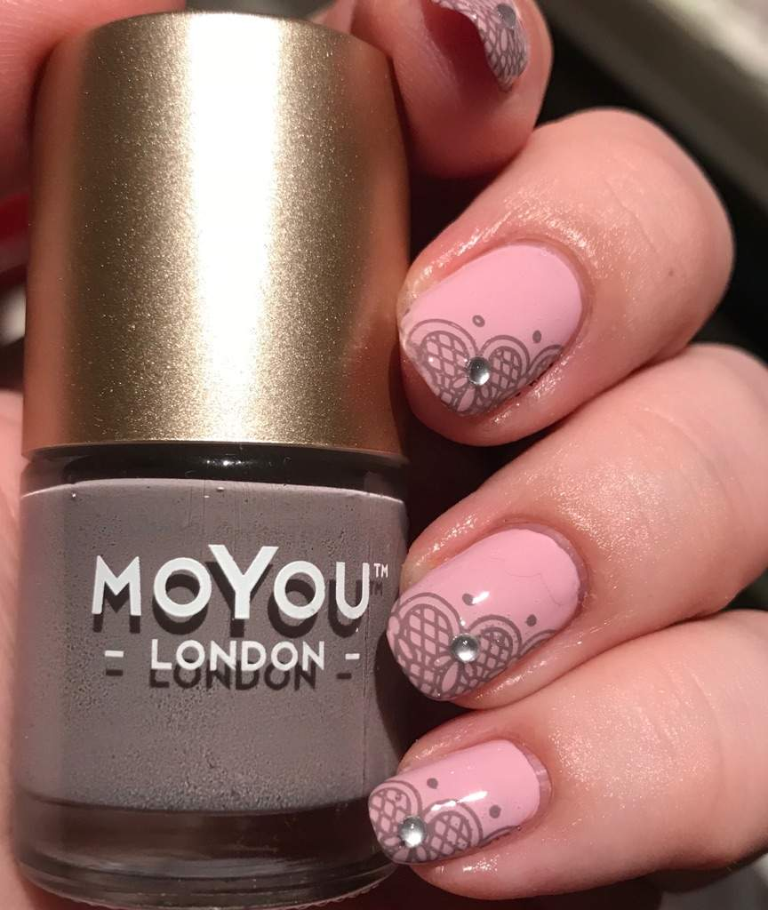 Pale Mauvey Pink With Gray Lace French Stamping Nail Art Amino