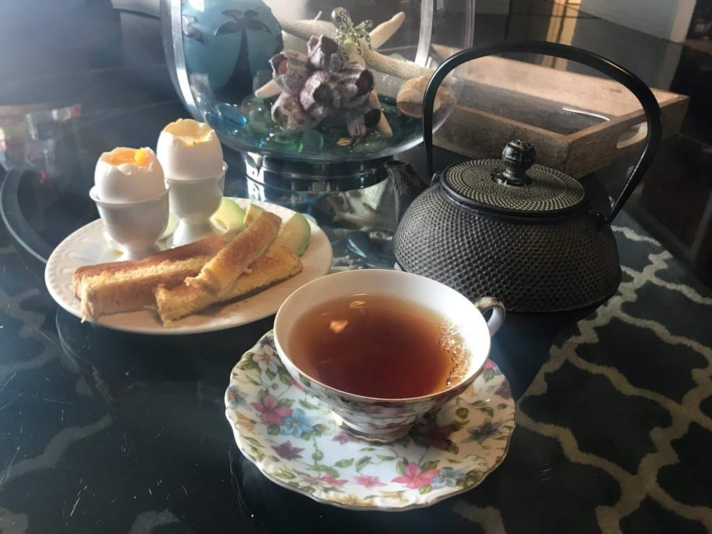 Assam Tea with Soft Boiled Eggs, Toast Soldiers, Acocado, and More