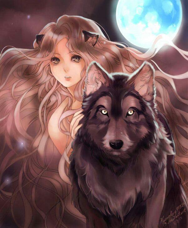 Девушка волк картинки аниме
