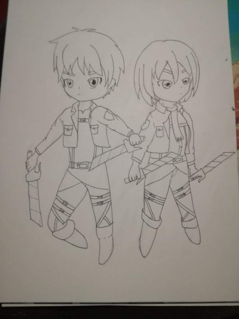 Eren Et Mikasa Colorier Au Copic Attaque Des Titans Francais Amino