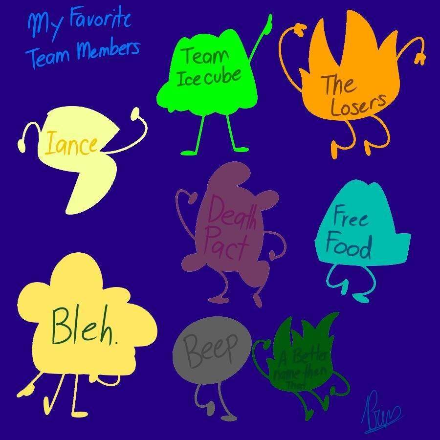 my favorite members in each team of bfb bfdi amino
