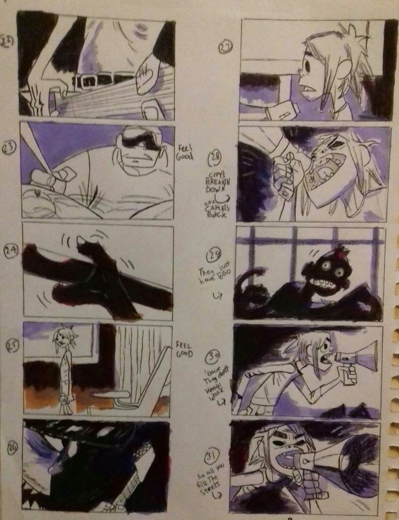 Redrawn original storyboard by Jamie Hewlett