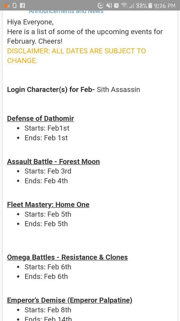 Swgoh Events Calendar.Swgoh Feb Event Calendar Wiki Star Wars Amino