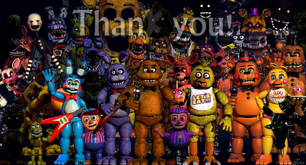 thank you image with all animatronics five nights at freddy s amino