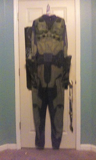 my master chief costume from halloween 2017 the jump suit is halo 3 the helmet is halo 4 i think and the gloves are from halo 5