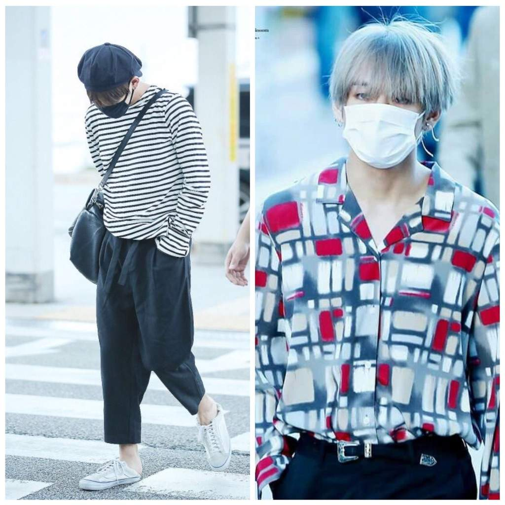 6de7049b612 Tae wears a lot of shirts with an open neck and a  V - Line  (pun  intended). He also wears flowy trousers with a wide ankle