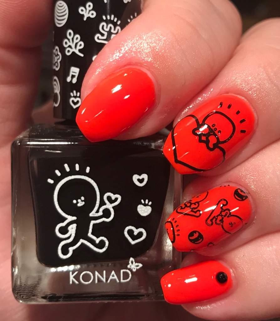 Konad x Barabapa nail art on neon orange