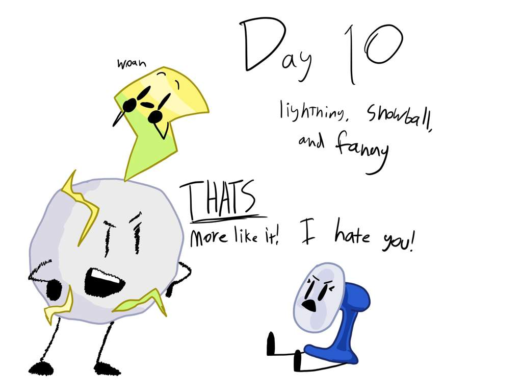 Pictures] BFDI Month day 10: lightning, snowball, and fanny | BFDI