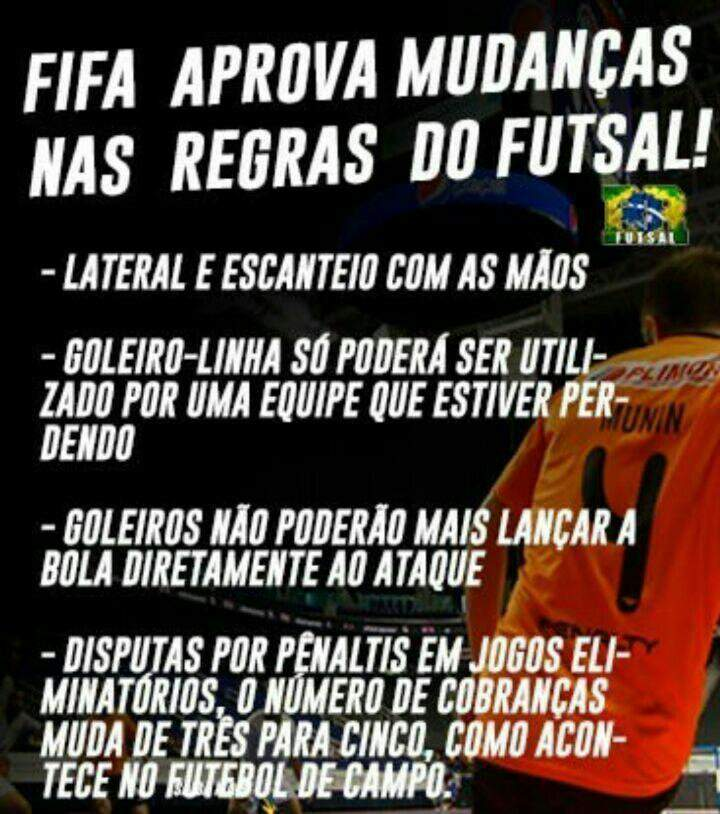 Olha só as novas regras do Futsal aprovadas pela FIFA  8ed7fa20b0051