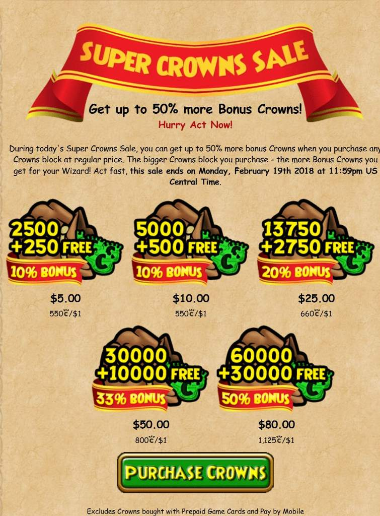 Free Crowns Wizard101