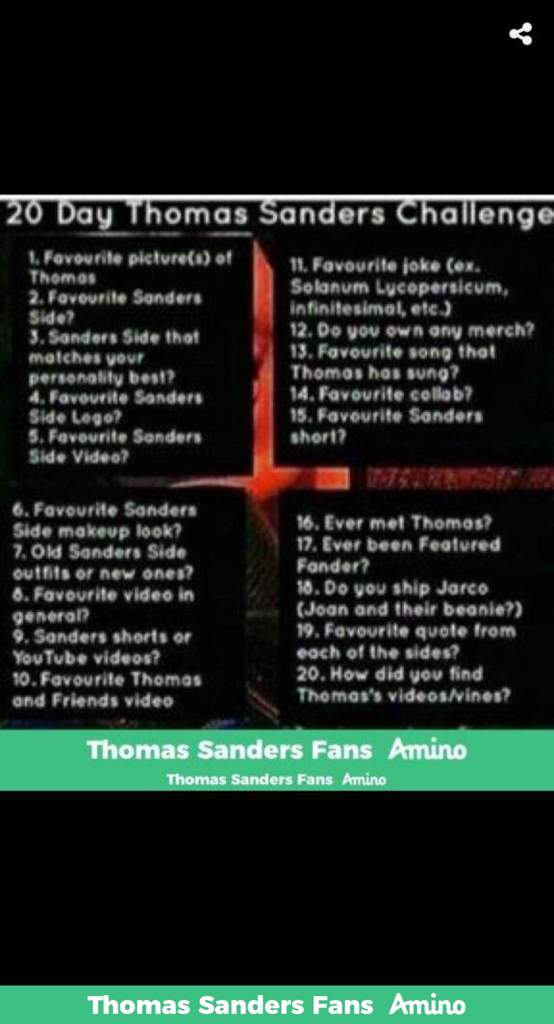20 Day Thomas Sanders Challenge! | Thomas Sanders Fans Amino
