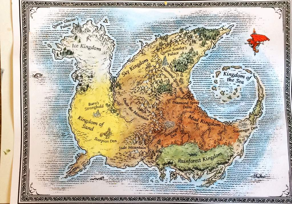 Painted map of Pyrhhia! | Wings Of Fire Amino