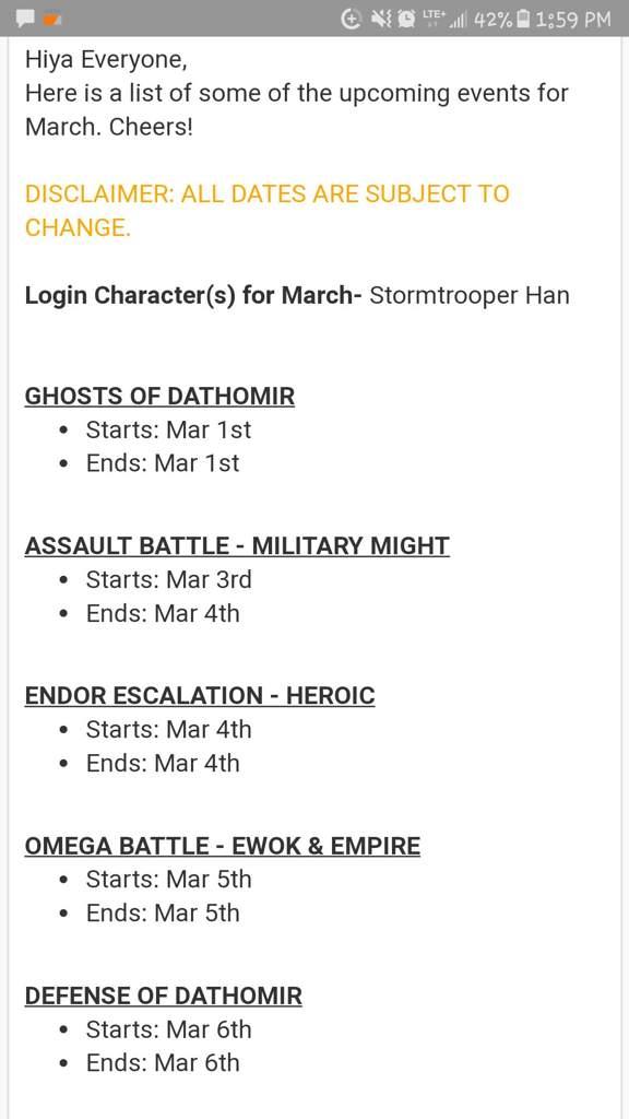 Swgoh - March 2018 event calendar | Wiki | Star Wars Amino