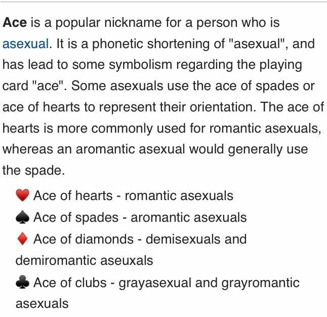 Ace card meaning asexual