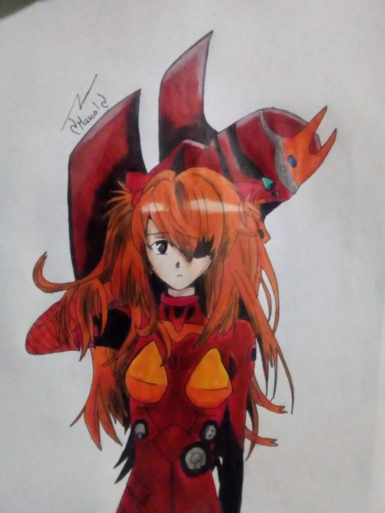 Mi nuevo dibujo de Asuka 😁 | Neon Génesis Evangelion Amino Amino