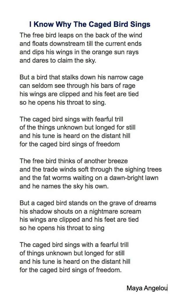 I know why the caged bird sings poem questions