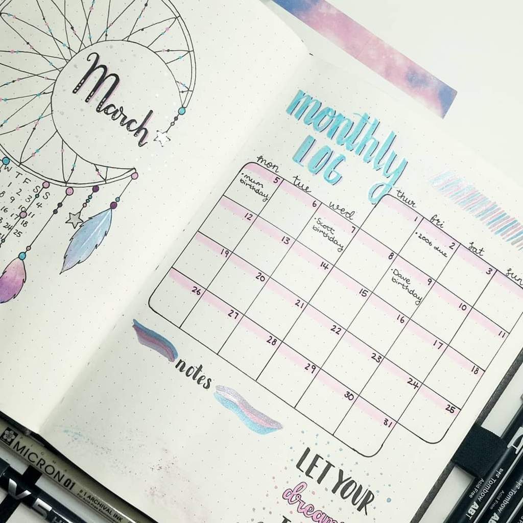 monthly log bullet journal amino