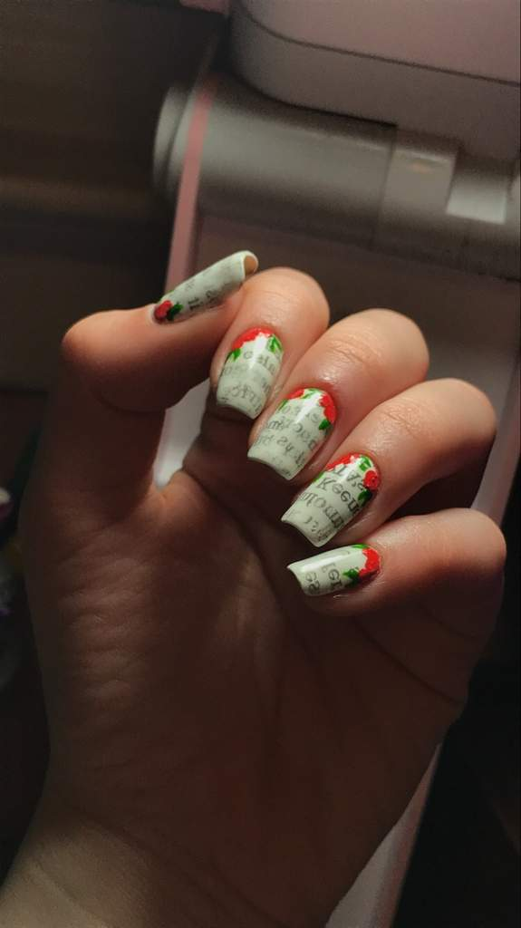 News Paper Print Flower Nails Nail Art Amino