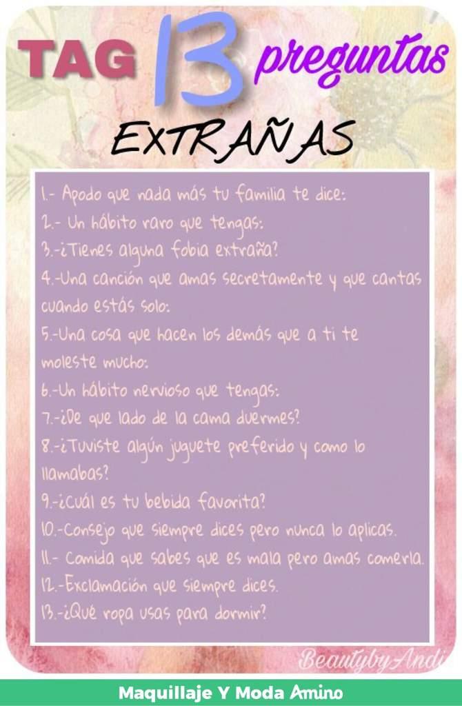 Tag 13 Preguntas Extrañas Maquillaje Y Moda Amino