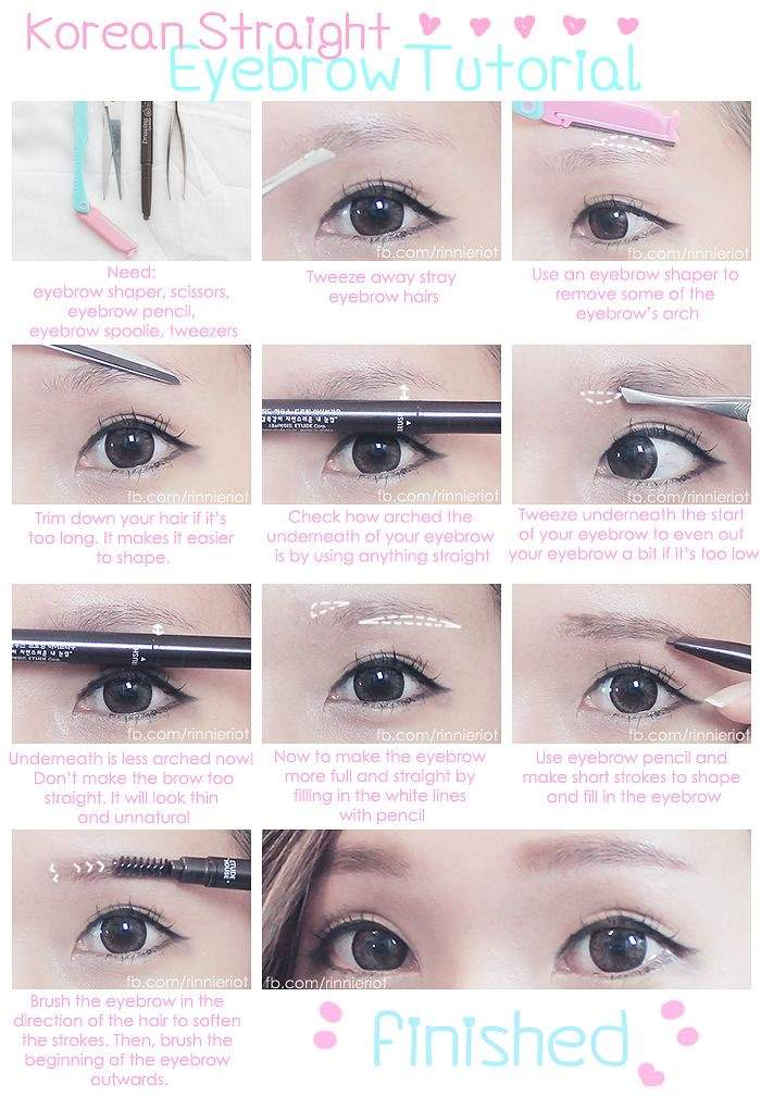 Korean Straight Eyebrow Tutorial Korean Beauty Amino