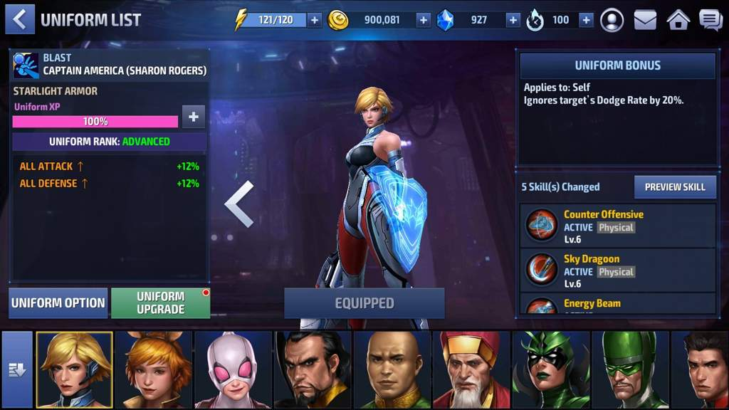 marvel future fight uniform ugrade for sharon rogers vision iron man