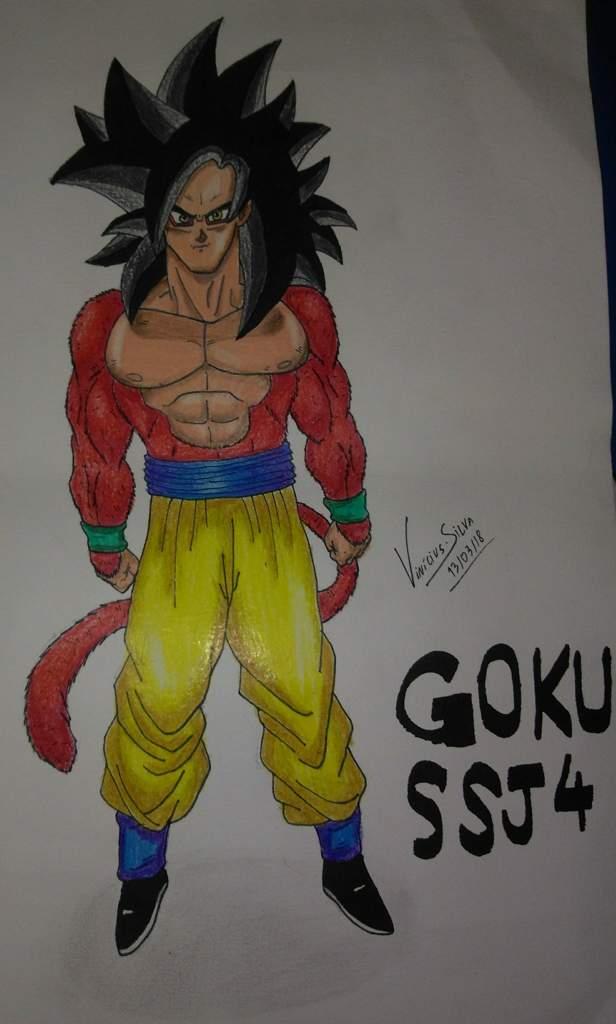Galera Fiz Mais Um Desenho Goku Super Sayajin 4 Ksksks Pintei Na