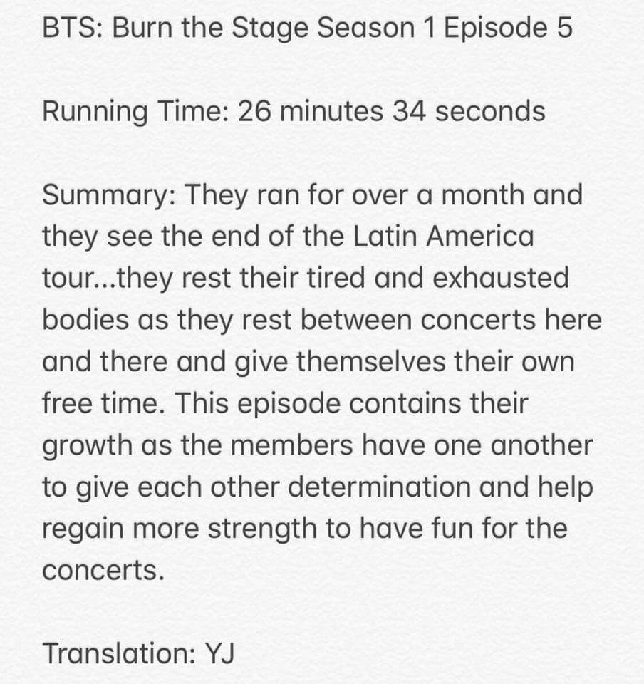 Burn The Stage: Episodes Summary | ARMY's Amino