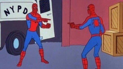 Resultado de imagem para homem aranha apontando para o homem aranha