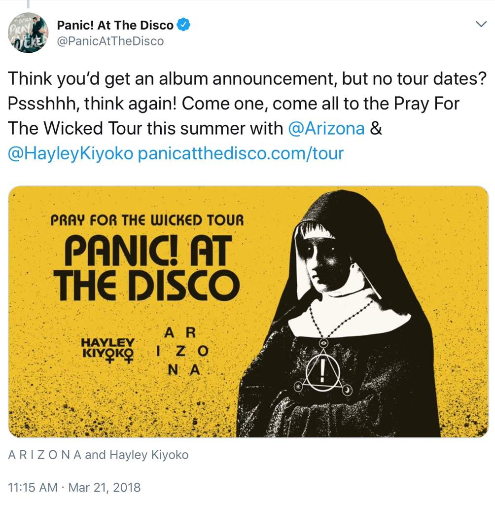 271cb86f Panic At The Disco Pray For The Wicked Tour T Shirt
