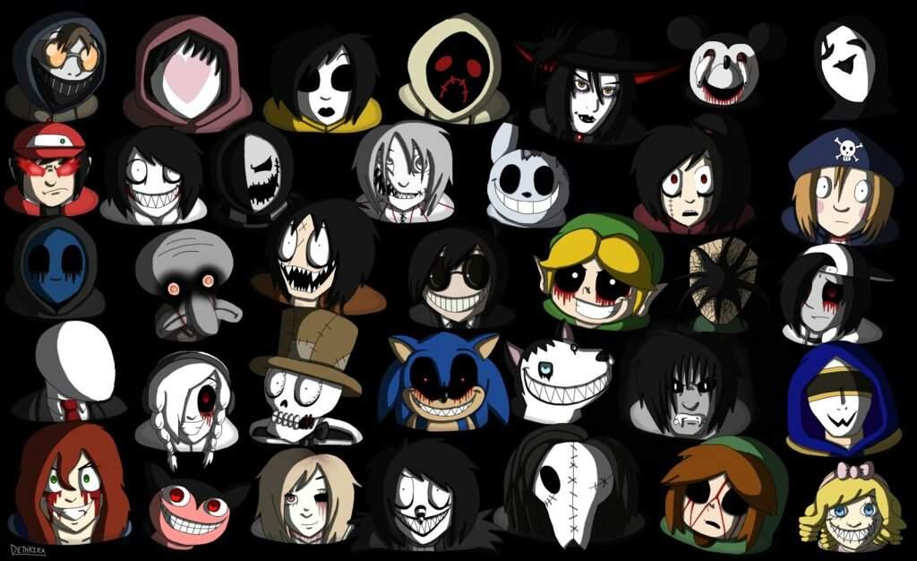 Все персонажи крипипасты список с картинками и именами
