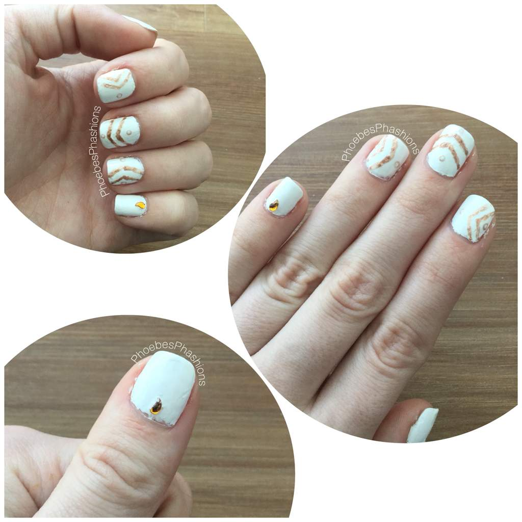 White And Gold Boho Design Nails Nail Art Amino
