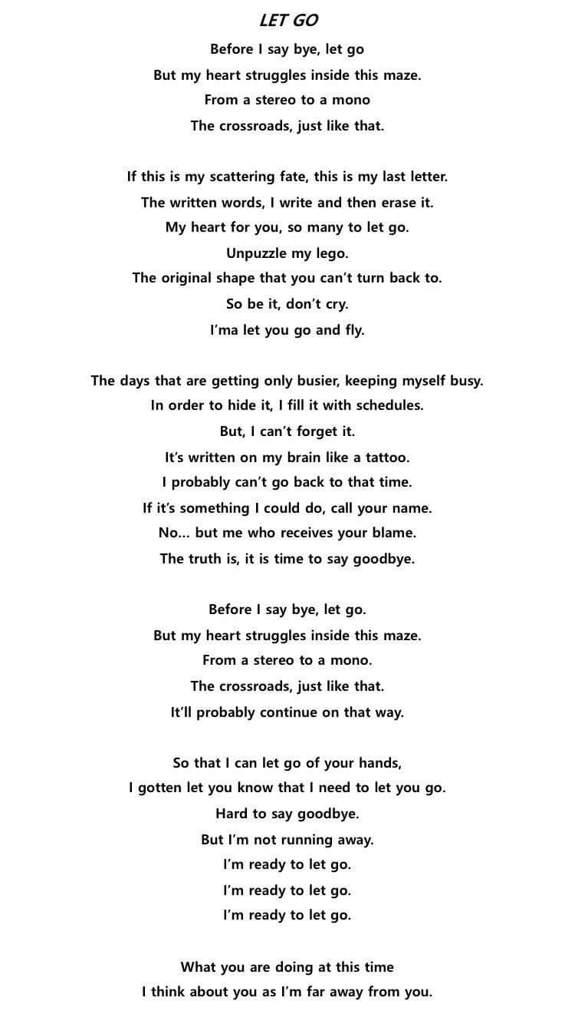 Let go' English lyrics trans | European ARMY 's Amino