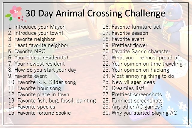 Introducing 30 Day Challenge Animal Crossing Amino