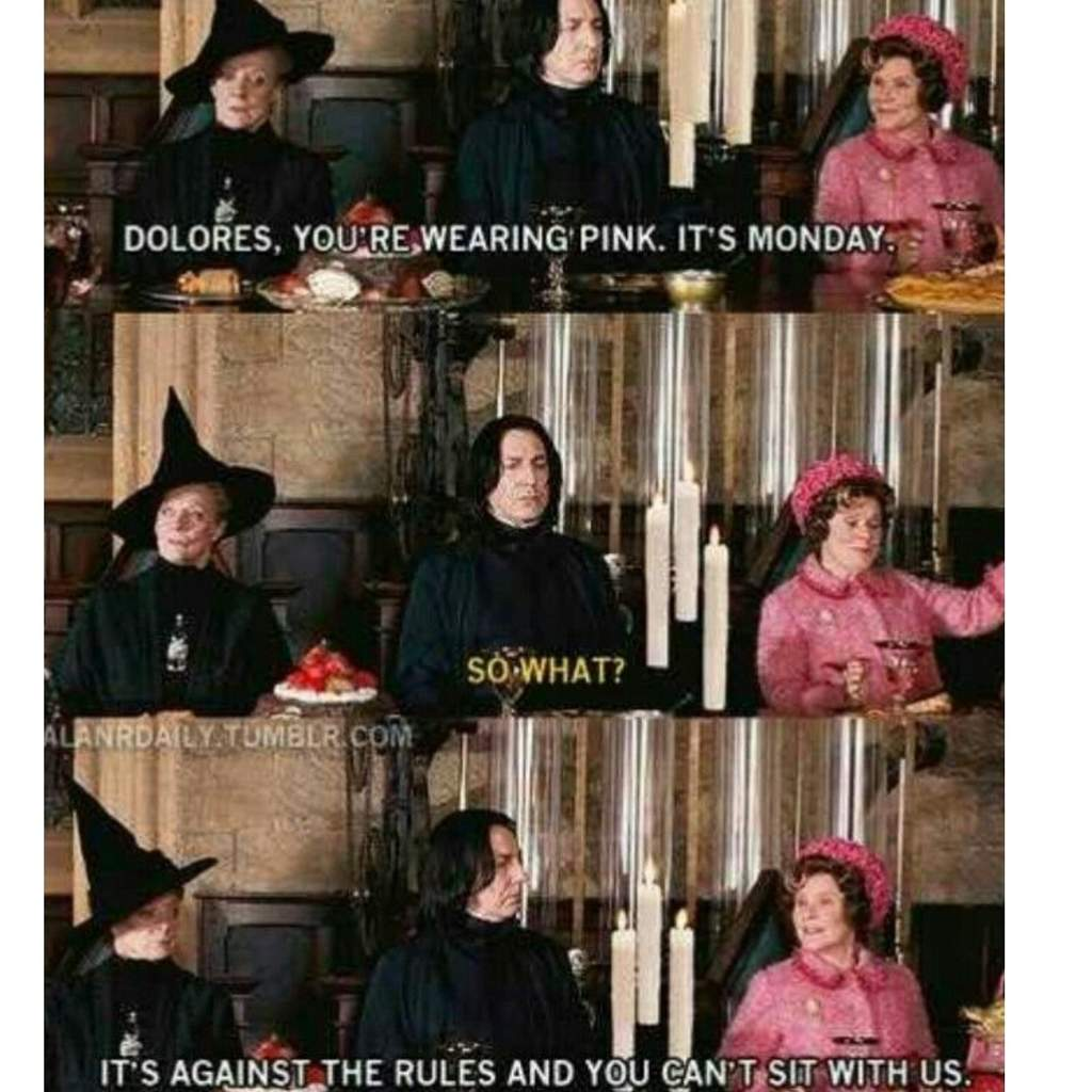 YOU CAN'T SIT WITH US UMBRIDGE! 😠😧 #harrypotter #snape #mcgonagall