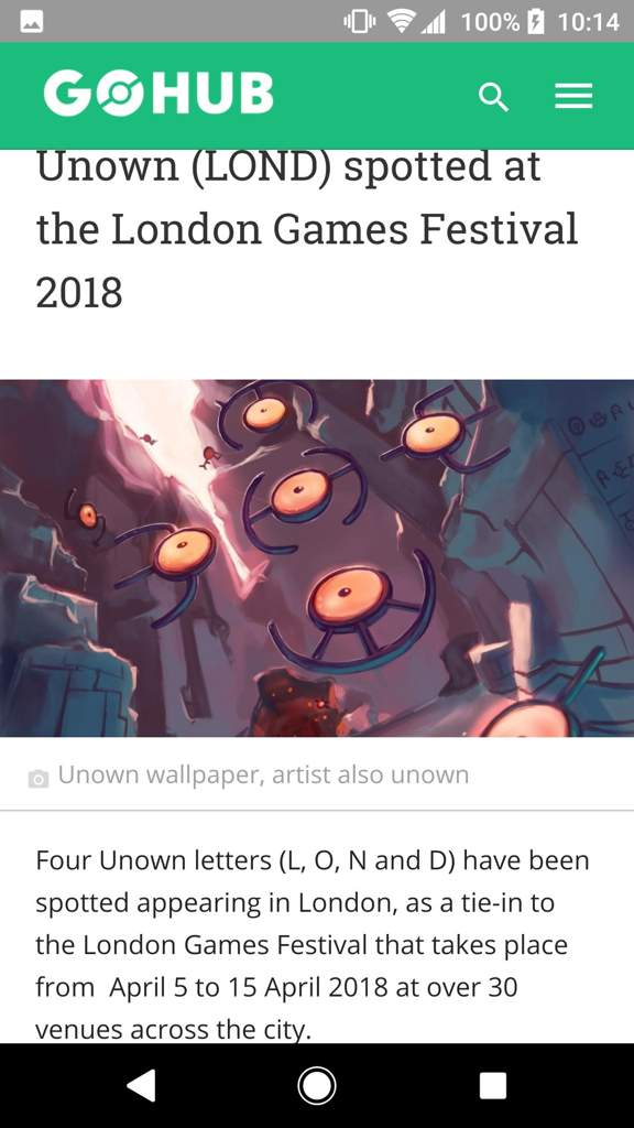 Unown (LOND) spotted at the London Games Festival 2018