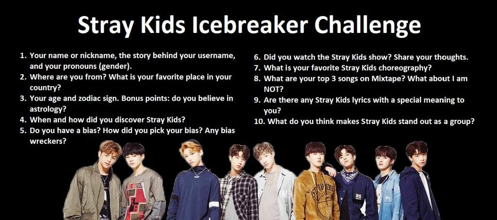 Icebreaker Challenge Part 5 Stray Kids Amino