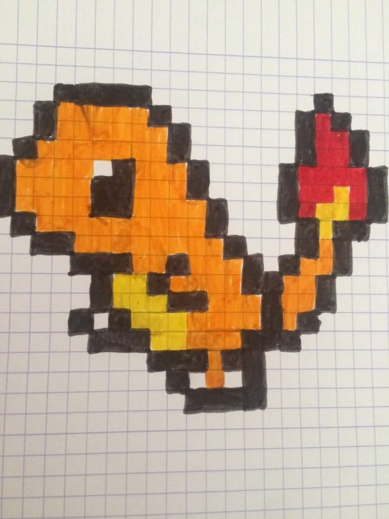 Pixel Art De Salameche Neko Café Nc Amino