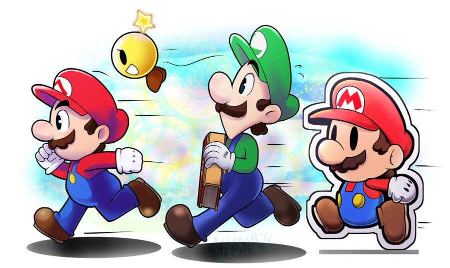Mario Fanart #12 Mario and Luigi paper jam for kids ...