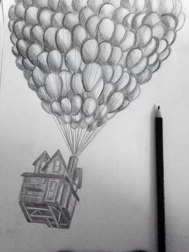 обезбашенная атмосфера летающий дом рисунок карандашом школьный фартук, вуаль
