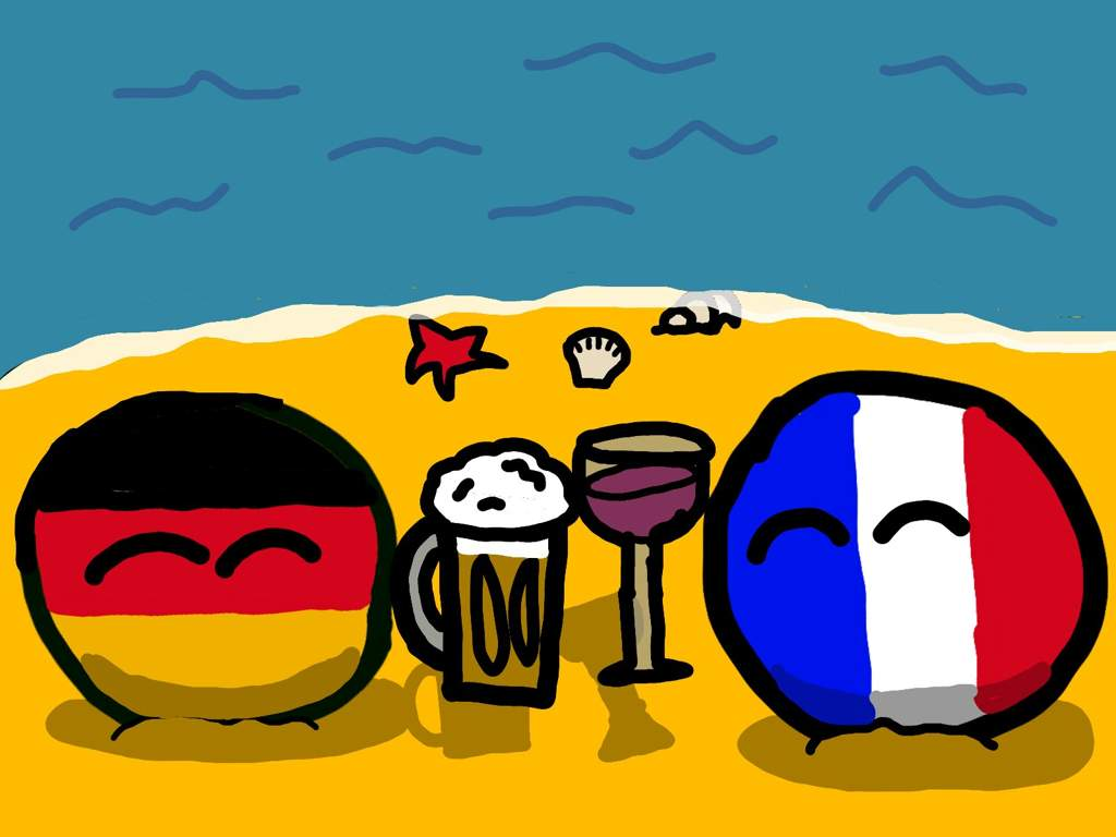France And Germany On A Beach Polandball Amino