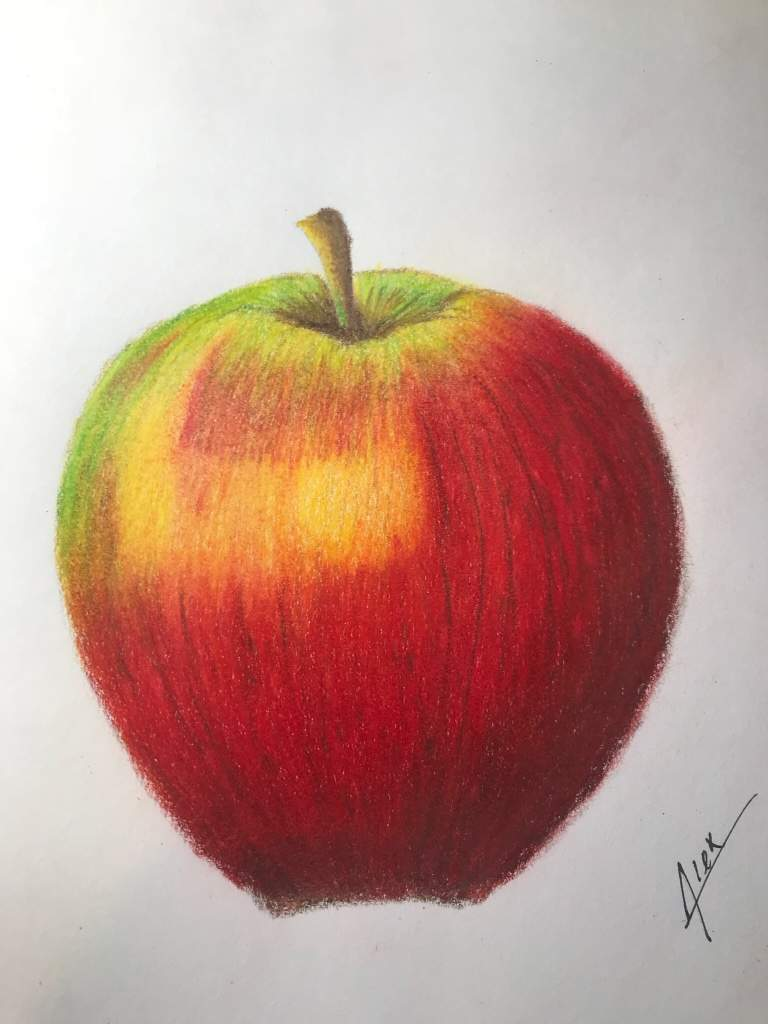 A quick colored pencil Apple drawing. Using Prismacolor ...
