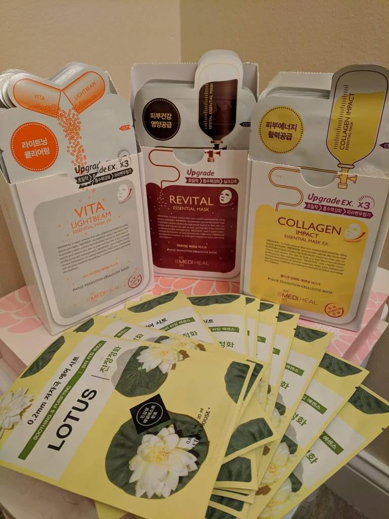 Masksheets Haul Korean Beauty Amino Mediheal Collagen Impact Essential Mask Placenta Revital Ingredients Vita Lightbeam