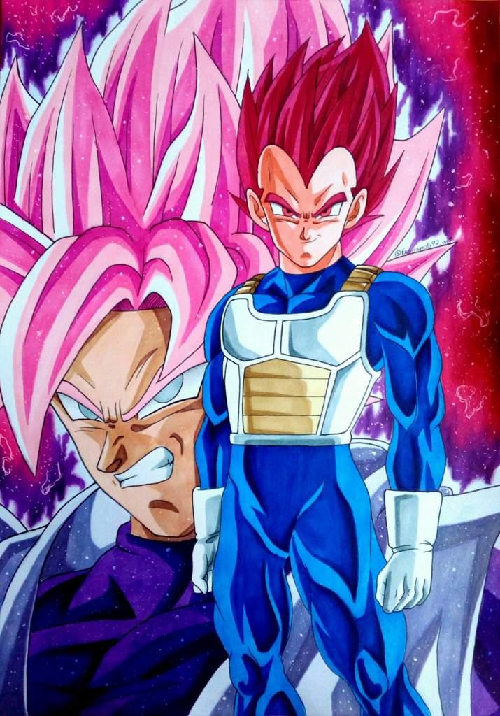 Dibujos Anime: Dibujo De Vegeta Ssj God Vs Black Ssj Rose 🔥