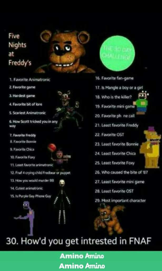 30 Day Challenge Day 1 Five Nights At Freddy S Amino