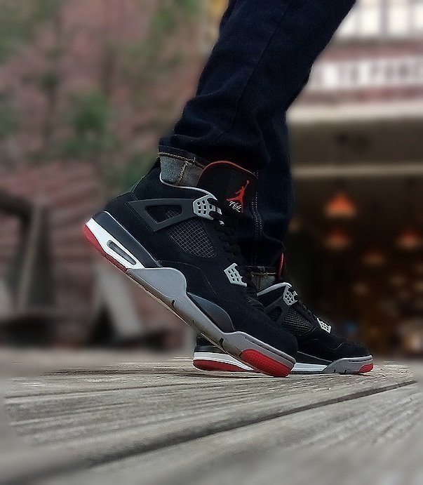 best sneakers b5459 37ebf ... off on the right foot. It just adds a little feel good to the week for  me. Today I am rockin my Bred 4s...absolutly love this OG colorway on the 4s !