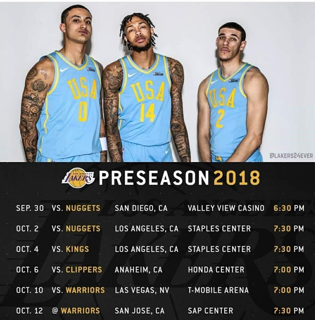 Lakers Preseason Schedule 2019 Lakers Pre season Schedule For 2018 2019 Season | LAKERSW🌎RLD Amino